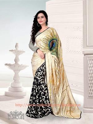 Black and  Cream printed satin saree with blouse
