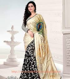 Buy Black and  Cream printed satin saree with blouse party-wear-saree online