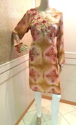 Tie-n-Dye Silk Embroidered Kurti