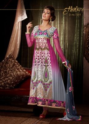Bollywood Latest Pink Bemberg Georgette Churidar Kameez Anarkali Dresses, Dress