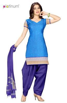Blue & Bright Turquoise Printed Salwar Kameez PS044