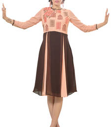 Buy Excellent Beige And Coffee Color Georgette Fabric Kurti heavy-work-kurtis online