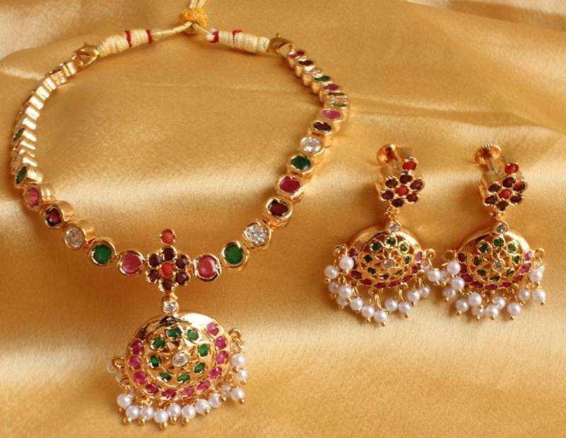 Buy BEAUTIFUL NAVRATHAN TRADITIONAL NECKLACE SET Online