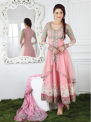 Pink chanderi embroidered semi_stitched salwar with dupatta