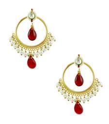 Buy Red Jadau Kundan Dangle and Drop Earrings Jewellery for Women - Orniza Earring online
