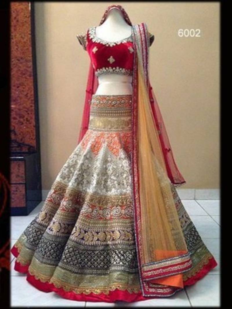 Buy Attractive Red And White Color Embroirderd Lehenga