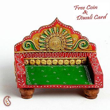 Hand painted Mini Chowki Throne made in wood n clay