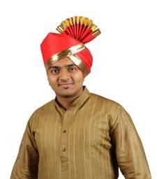 Buy eKolhapuri Solid Red with Broad Plain Golden Border Polyester Pheta (Turban) turban online