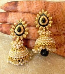 Buy Fabulous Black Gold Plated Bandani Jhumka Earrings jhumka online
