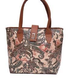 Buy Brown plain Non Leather handbags handbag online