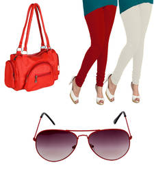 Buy Red plain Non Leather one handbag and one sunglass and  two leggings handbag online