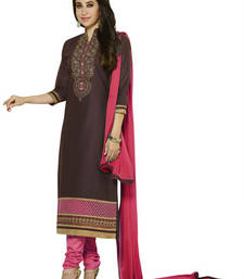 Buy Brown embroidered Cotton unstitched salwar with dupatta salwar-kameez-below-300 online