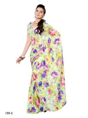 Florid casual/party wear saree with butti weaving pattern by DIVA FASHION- Surat