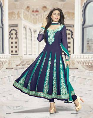 Elegant Anarkali Georgette Printed Embroidery Suit Materials D.No S209