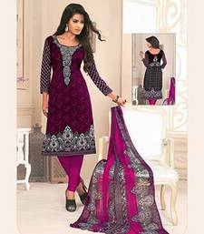 Buy Purple printed crepe unstitched salwar with dupatta salwar-kameez-below-500 online