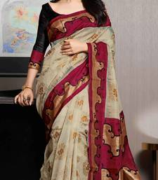 Buy red and beige printed cotton_silk saree with blouse bhagalpuri-silk-saree online