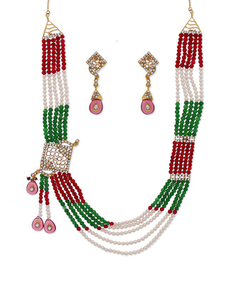Green Red Pearl Ethnic Necklace
