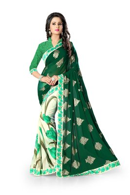green and white embroidered georgette sareem with blouse