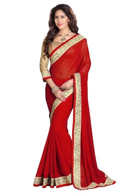 red embroidered georgette sareem with blouse