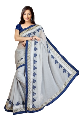 white embroidered georgette sareem with blouse
