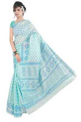 Cyan printed cotton saree with blouse