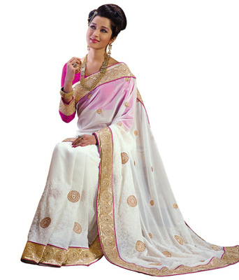 cream printed Chiffon saree with blouse