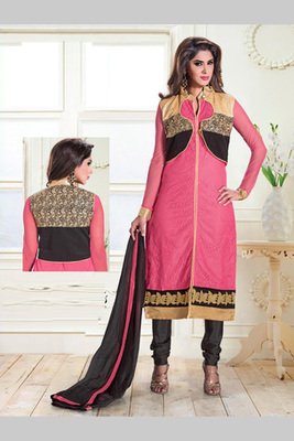 Pink and Black embroidered Brasso semi stitched salwar with dupatta