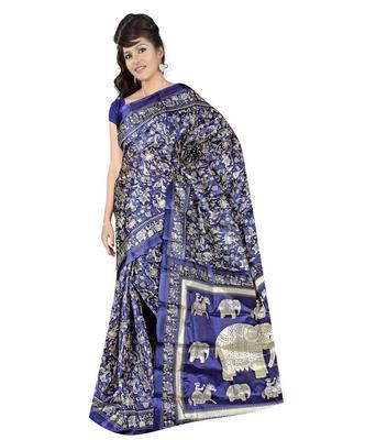 black  bhagalpuri silk saree with blouse