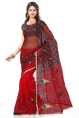 Red and Black printed net saree with blouse