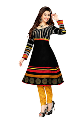 Black printed Cotton unstitched salwar with dupatta