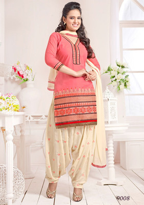 Peach embroidered Cambric and Cotton unstitched salwar with dupatta