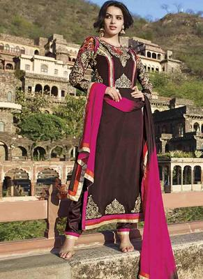 Brown Georgette embroidered semi stitched salwar with dupatta