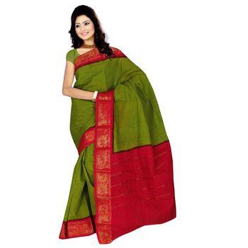 Mehadi plain cotton saree