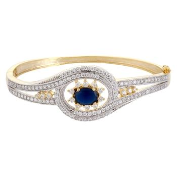Baguette Floral Setting Blue Bracelet