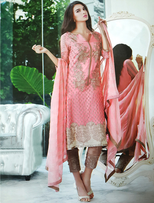 Peach georgette embroderied semi stitched salwar with dupatta