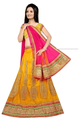 yellow Indian Traditional Designer lehenga.