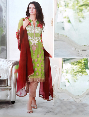Parrot georgette embroderied semi stitched salwar with dupatta