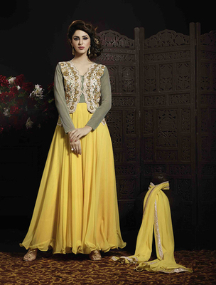Yellow georgette  and  net embroderied semi stitched salwar with dupatta