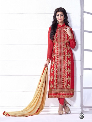 Red faux georgette embroderied semi stitched salwar with dupatta