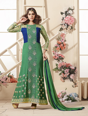 Green faux georgette embroderied semi stitched salwar with dupatta