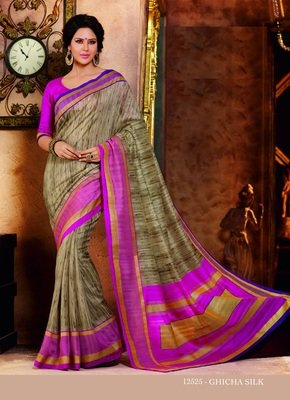 Khaki and Pink printed cotton silk saree with blouse