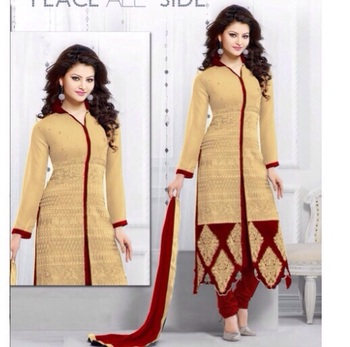 chiku georgette printed semi stitched salwar with dupatta