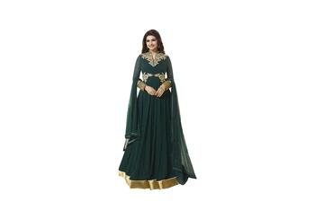 green Embroidery & Stone & patch patta work georgette semi_stitched salwar