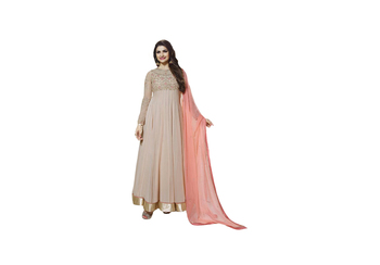 light peach Embroidery & Stone & patch patta work georgette semi_stitched salwar