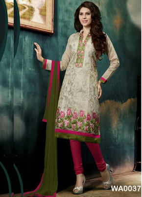 Off white embroidered Chanderi and cotton semi stitched salwar with dupatta