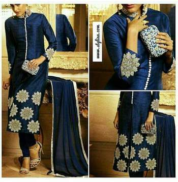 Blue georgette embroidered unstitched salwar with dupatta