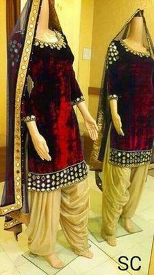 Red velvet embroidered unstitched salwar with dupatta