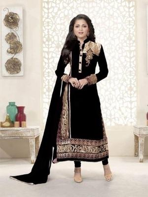 Black georgette embroidered unstitched salwar with dupatta
