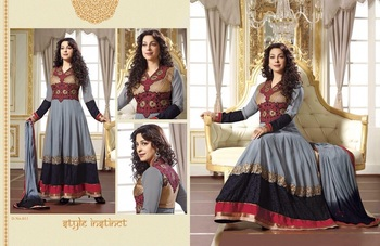 Brown georgette embroidered unstitched salwar with dupatta