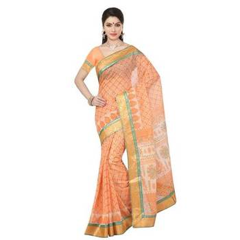 Orange printed cotton sare with blouse